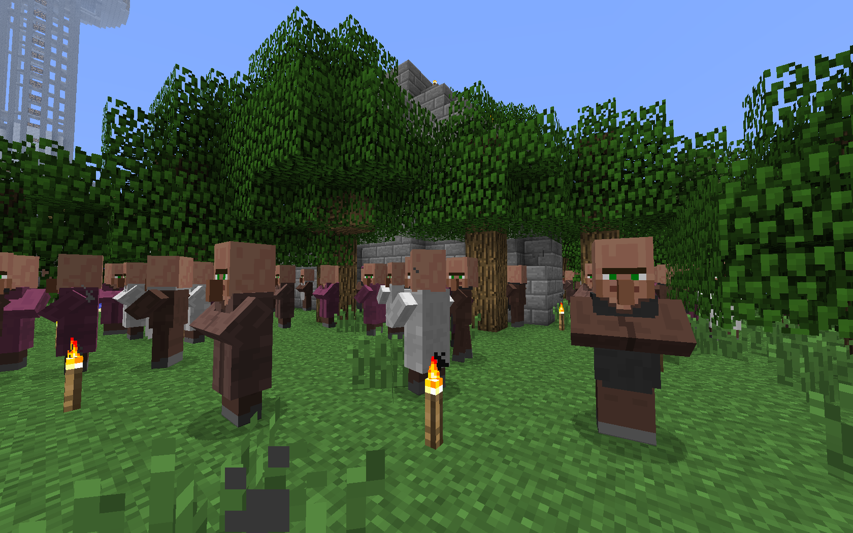 The crowd of trusting villagers